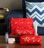 Asian Artisans Vietnamese Red Silk Travel Pouch - Set of 3