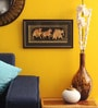 Wood & Cloth 14 x 8 Inch Golden Camel, Elephant & Horse Horizontal Framed Painting by Asian Artisans