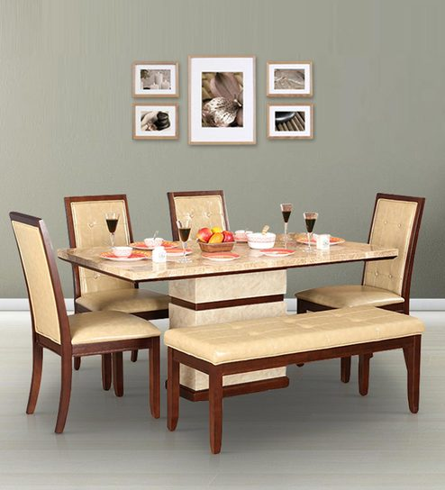 Athena Marble Top Six Seater Dining Set