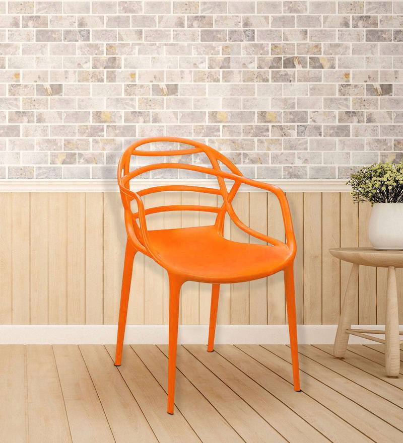 Buy Atria Plastic Chair In Orange Colour Set Of 2 By