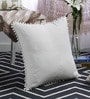 At Home White Cotton 20 x 20 Inch Cushion Solid Cover