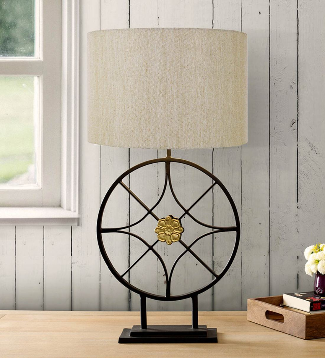 Buy Aureole Sephia Metal Fabric Shade Table Lamp With Rustic Brown Base By Clg Retail Online Modern And Contemporary Table Lamps Table Lamps Lamps Lighting Pepperfry Product