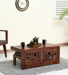 Aura Coffee Table Set With Two Stools In Provincial Teak Finish