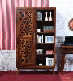 Aura Cupboard Cum Display Unit In Provincial Teak Finish