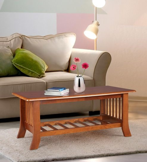 Aubrey Solid Wood Centre Table in Dirty Oak Finish by HomeTown