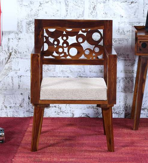 Aura Solid Wood Arm Chair With Cream Cushion Provincial Teak Finish By  Woodsworth