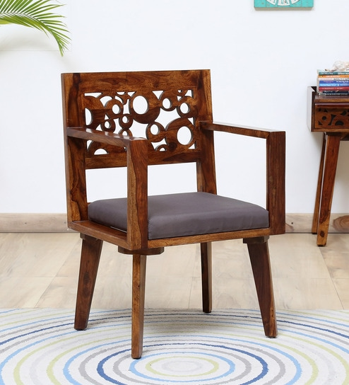 Aura Solid Wood Arm Chair with Cushioned Seat in Provincial Teak Finish by  Woodsworth
