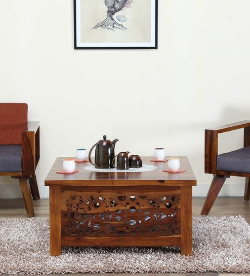 aura solid wood coffee table in provincial teak finish by woodsworth - Teak Wood Coffee Tables