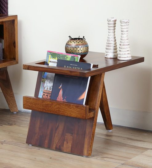 Aura End Table in Provincial Teak Finish by Woodsworth
