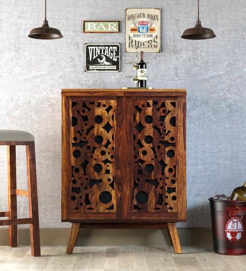 Buy Aura Solid Wood Bar Cabinet Cum Sideboard In Provincial Teak
