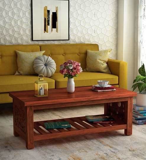 Aura Solid Wood Coffee Table in Honey Oak Finish by Woodsworth
