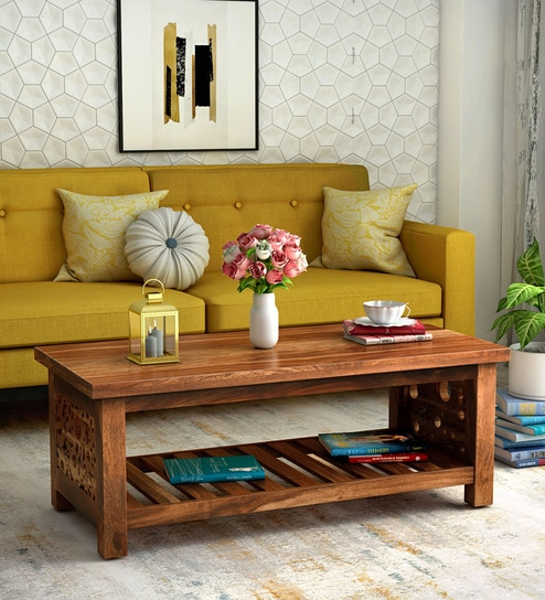 Aura Solid Wood Coffee Table in Rustic Teak Finish by Woodsworth
