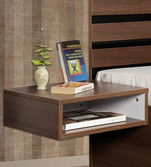 Aura Wall Mounted Bedside Table In Acacia Dark Matt Finish By Delite Kom