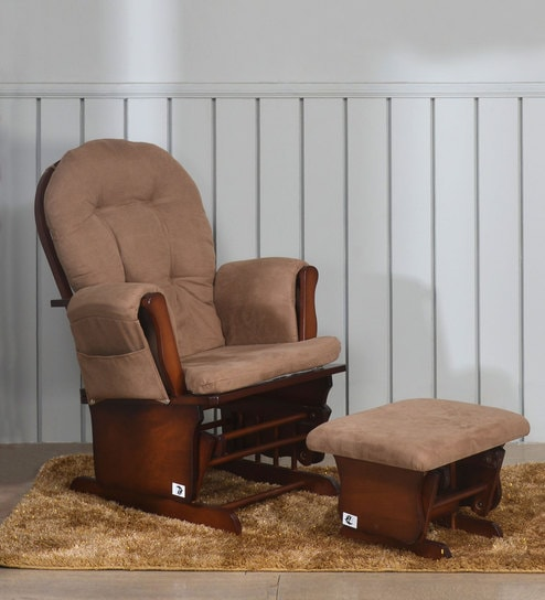 Austen Glider Chair With Stool in Coffee Colour By Nilkamal