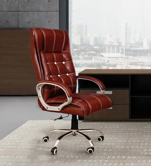 Austex Executive Chair In Brown Leatherette By Furniease
