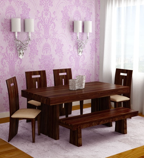 Buy Austin Six Seater Dining Set In Honey Colour By Hometown Online