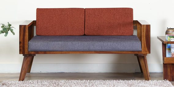 Aura Two Seater Sofa With Rust Cushion In Provincial Teak Finish