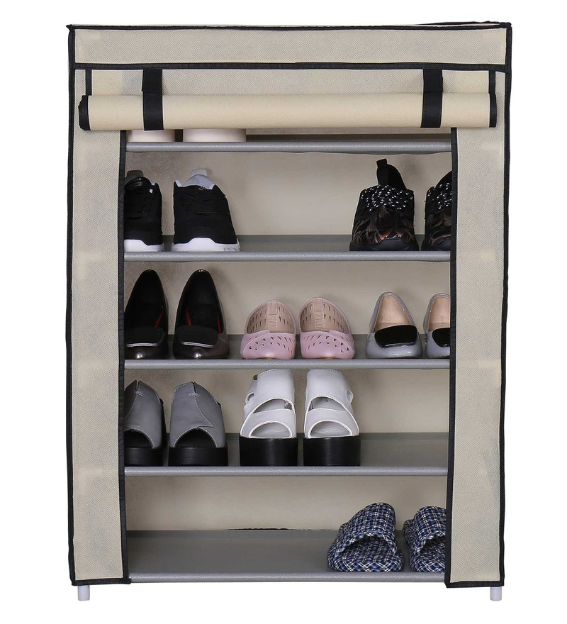 Auspicious Home Homebi Rose Mild Steel Beige 5 Layers Shoe Rack