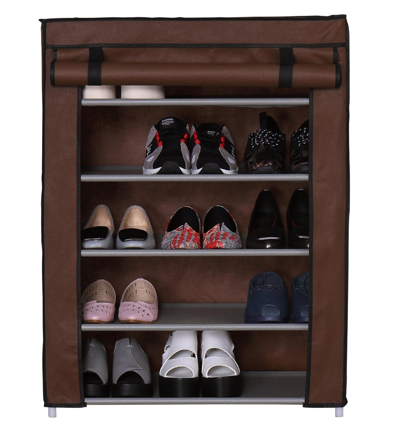 Auspicious Home Homebi Rose Mild Steel Brown 5 Layers Shoe Rack