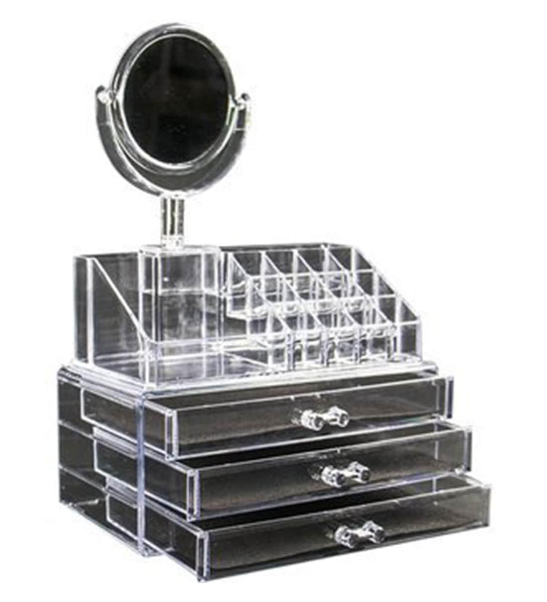 avmart lipstick holder stand 3 drawer with mirror cosmetic organizer makeup vanity box white avma m8oyva