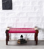 Avapana Bench with Jute Weaving in Pink Colour