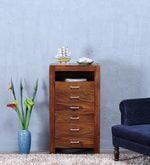 Avian Tall Chest Of Drawer in Provincial Teak Finish