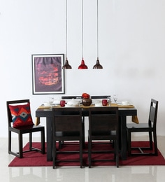 Avian Six Seater Dining Set In Warm Chestnut Finish