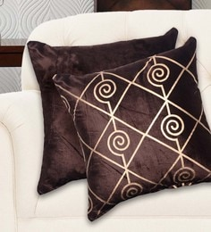 Avira Home Gold And Brown Velvet 16 X 16 Inch Luxury Cushion Cover - Set Of 2