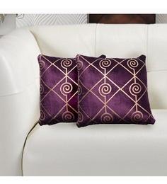 Avira Home Gold And Purple Velvet 16 X 16 Inch Luxury Metallic Printed Cushion Cover - Set Of 2