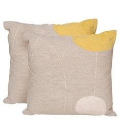 Avira Home Grey And Yellow Poly Cotton 18 X 18 Inch Lunar Cushion Cover - Set Of 2
