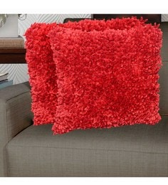 Avira Home Red Micro Polyester 18 X 18 Inch Pixi Shaggy Cushion Cover - Set Of 2