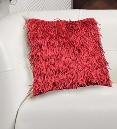 Avira Home Red Poly Cotton 18 X 18 Inch Textured Shaggy Cushion Cover