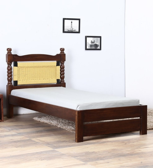 new concept 6e39a 5cb61 Avapan Single Bed with Yellow Woven Headboard by Mudramark