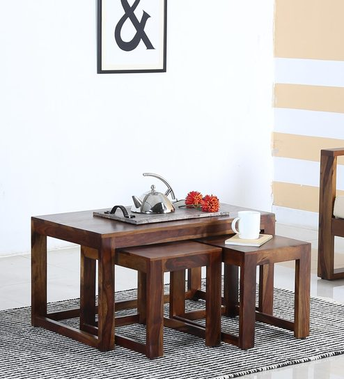 Avian Solid Wood Coffee Table Set With Two Stools In Provincial Teak Finish By Woodsworth