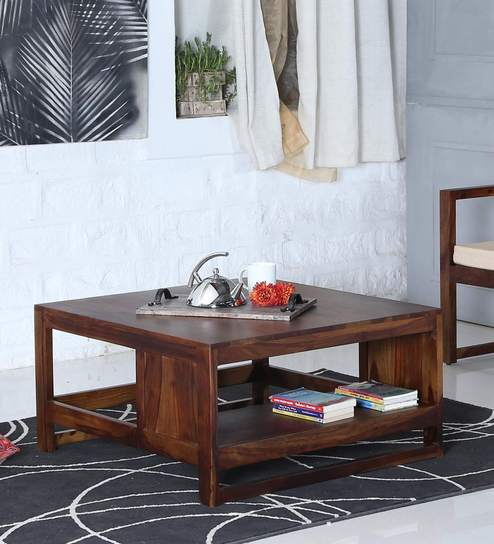Buy Avian Solid Wood Coffee Table With Storage In Provincial Teak