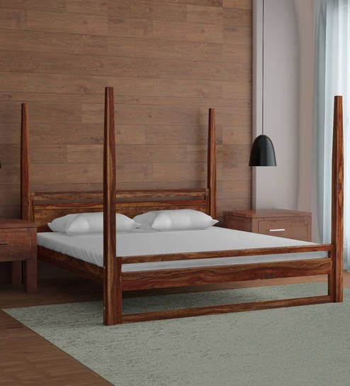 Avian Solid Wood Poster Bed in Provincial Teak Finish by Woodsworth