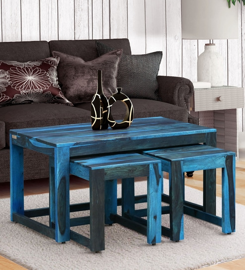 Wondrous Avian Solid Wood Nesting Coffee Table Set In Ocean Blue Finish By Woodsworth Evergreenethics Interior Chair Design Evergreenethicsorg