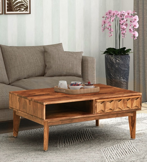 Buy Avilys Solid Wood Coffee Table In Rustic Teak Finish By