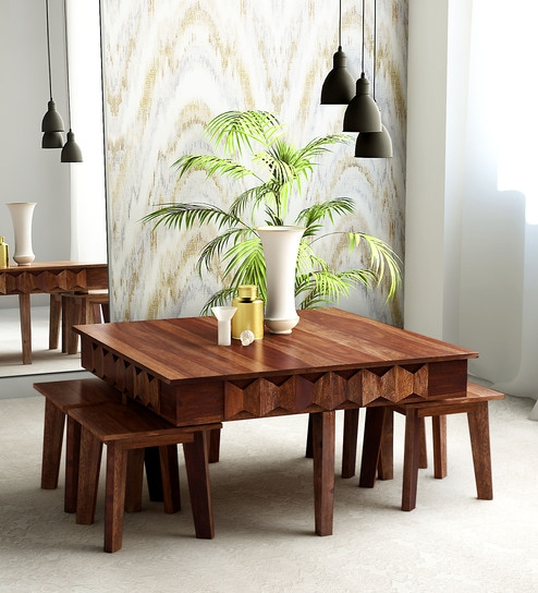 Buy Avilys Solid Wood Coffee Table Set With Four Stools In