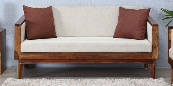 Avilys Two Seater Sofa in Provincial Teak Finish by Woodsworth