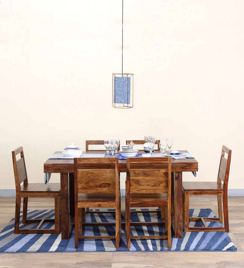 Avian Six Seater Dining Set in Provincial Teak Finish by Woodsworth