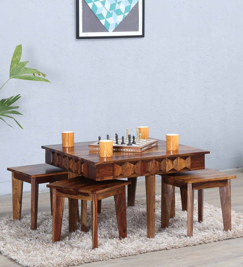 Avilys Coffee Table Set with Four Stools In Provincial Teak Finish by Woodsworth