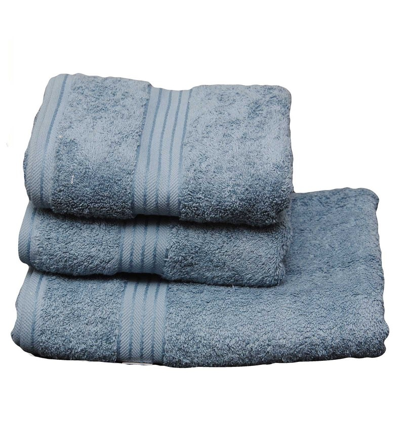 Blue Cotton Egyptian Towels - Set of 3 by Avira Home