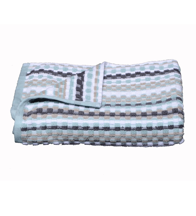 Blue Cotton 27.5 x 53.5 Inch Manhattan Stripe Waffle Bath Towel by Avira Home