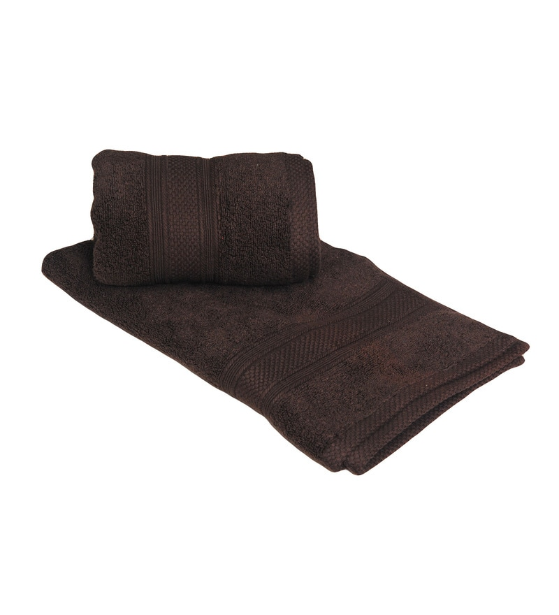 Avira Home Dark Brown Cotton Hand Towel - Set of 2