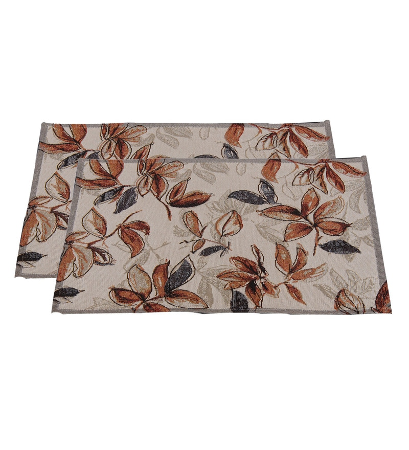 Avira Home Earthy Leaves Machine Washable Multicolour Cotton & Polyester Placemats - Set of 2