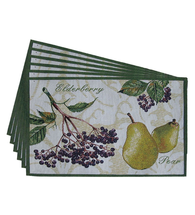 Avira Home Fruits Multicolour Cotton & Polyester Placemats - Set of 6