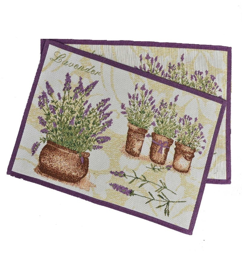 Avira Home Lavender Flower Pots Purple Cotton And Polyester Table Mat - Set Of 2