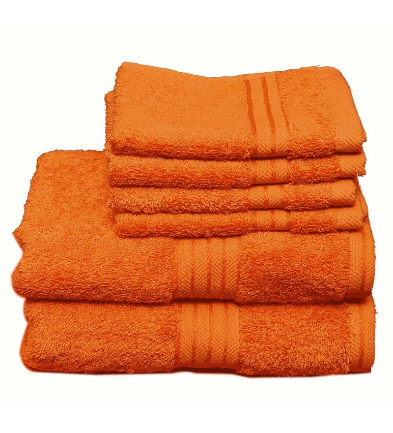 Orange Cotton Egyptian Towels - Set of 6 by Avira Home