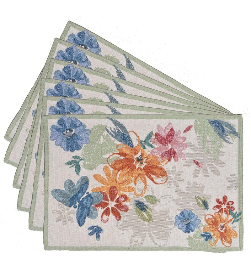 Avira Home Pop Flowers Multicolour Cotton & Polyester Placemats - Set of 6